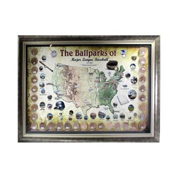 Steiner Sports New Major League Baseball Parks Map 20'' x 32'' Framed Collage