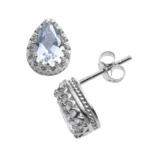 Sterling Silver Lab-Created Aquamarine Crown Stud Earrings