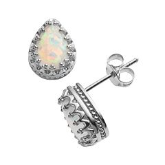 Sterling Silver Lab-Created Opal Crown Stud Earrings