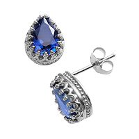 Sterling Silver Lab-Created Sapphire Crown Stud Earrings