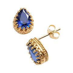 14k Gold Over Silver Lab-Created Sapphire Crown Stud Earrings