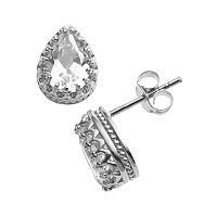 Sterling Silver Lab-Created White Sapphire Crown Stud Earrings