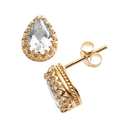 14k Gold Over Silver Lab-Created White Sapphire Crown Stud Earrings