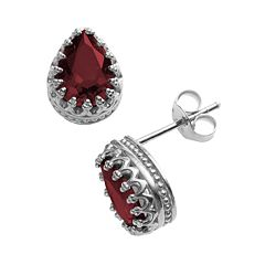 Sterling Silver Garnet Crown Stud Earrings