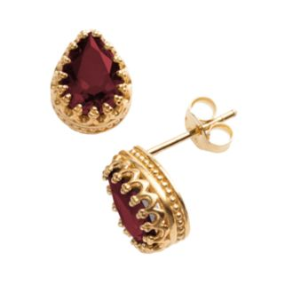 14k Gold Over Silver Garnet Crown Stud Earrings