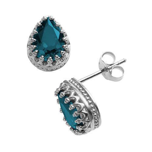 Sterling Silver London Blue Topaz Crown Stud Earrings