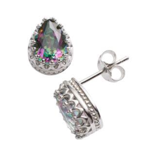Sterling Silver Rainbow Quartz Crown Stud Earrings