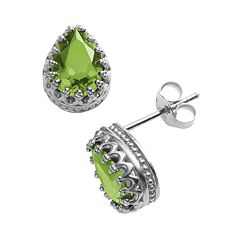 Sterling Silver Peridot Crown Stud Earrings