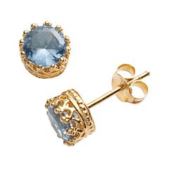 14k Gold Over Silver Lab-Created Aquamarine Crown Stud Earrings