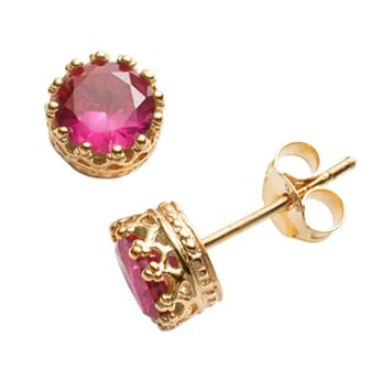 14k Gold Over Silver Lab-Created Ruby Crown Stud Earrings