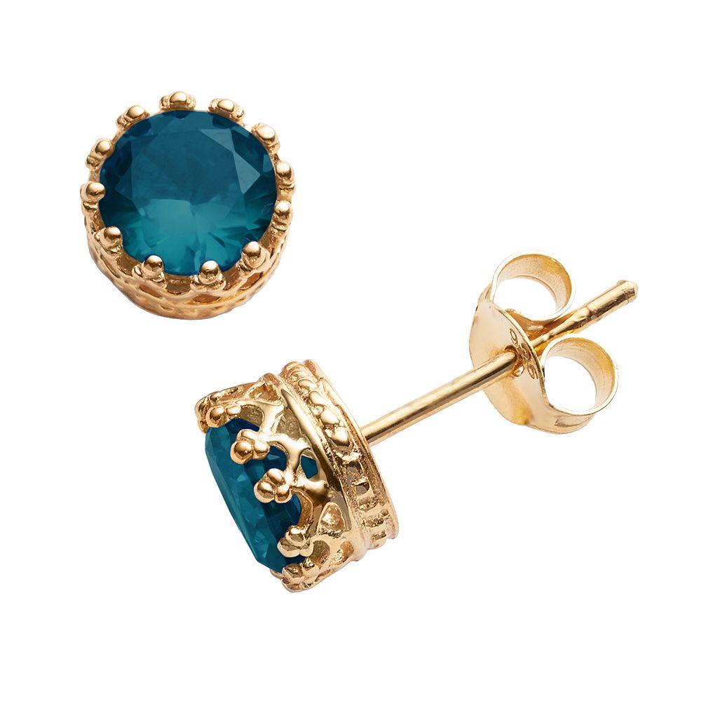 14k Gold Over Silver London Blue Topaz Crown Stud Earrings