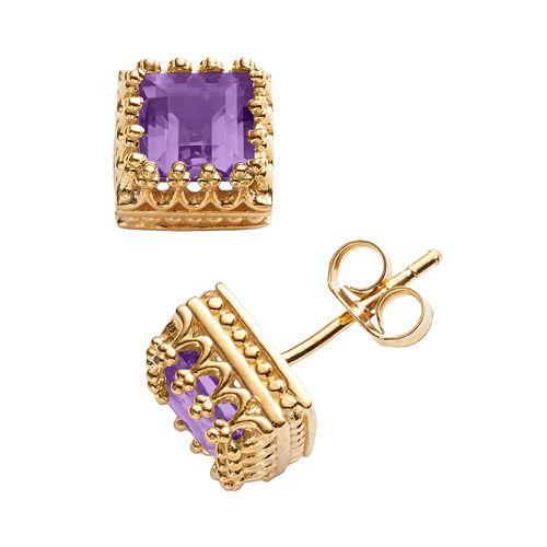 14k Gold Over Silver Amethyst Crown Stud Earrings