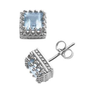 Sterling Silver Lab-Created Aquamarine Crown Stud Earrings
