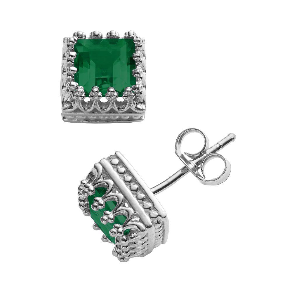 Sterling Silver Lab-Created Emerald Crown Stud Earrings