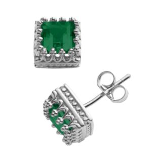 Sterling Silver Lab-Created Emerald Crown Stud Earrings