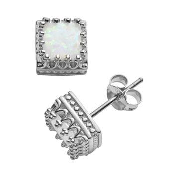 Sterling Silver Lab-Created Opal Crown Stud Earrings