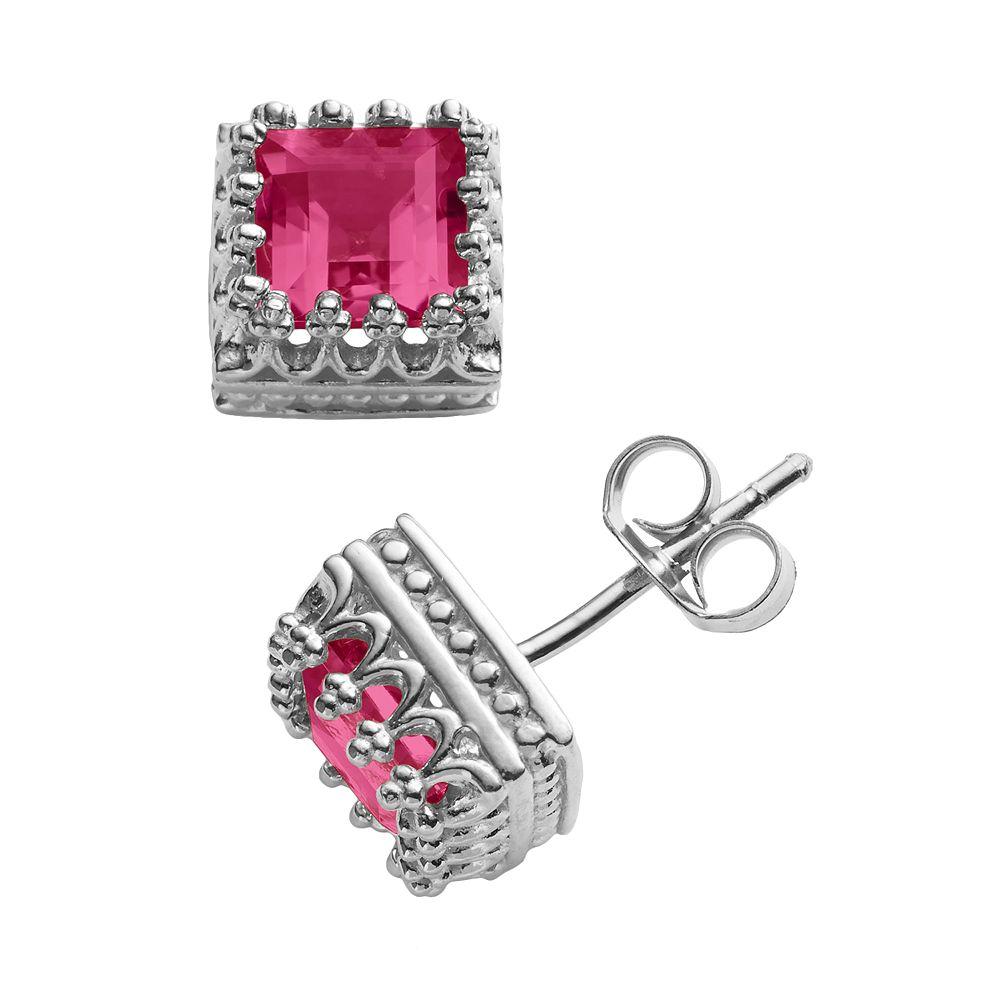 Sterling Silver Lab-Created Ruby Crown Stud Earrings