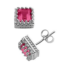 Sterling Silver Lab-Created Ruby Crown Stud Earrings