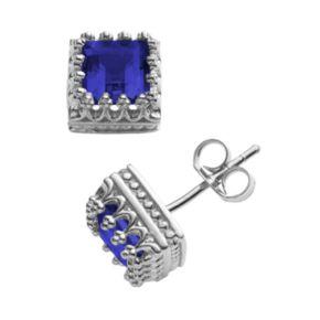 Sterling Silver Lab-Created Sapphire Crown Stud Earrings