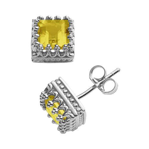 Sterling Silver Genuine Citrine Crown Stud Earrings