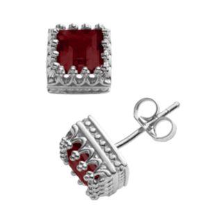 Sterling Silver Genuine Garnet Sapphire Crown Stud Earrings