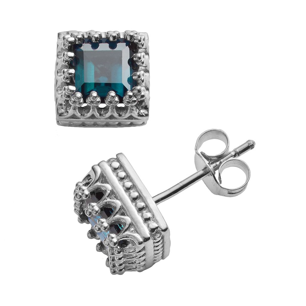 Sterling Silver Genuine London Blue Topaz Crown Stud Earrings
