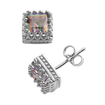 Sterling Silver Genuine Rainbow Quartz Crown Stud Earrings