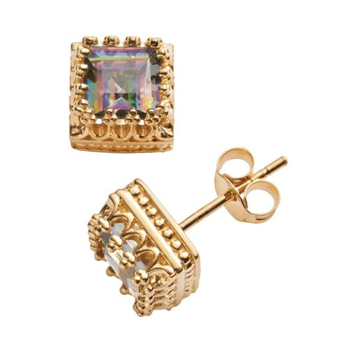 14k Gold Over Silver Rainbow Quartz Crown Stud Earrings