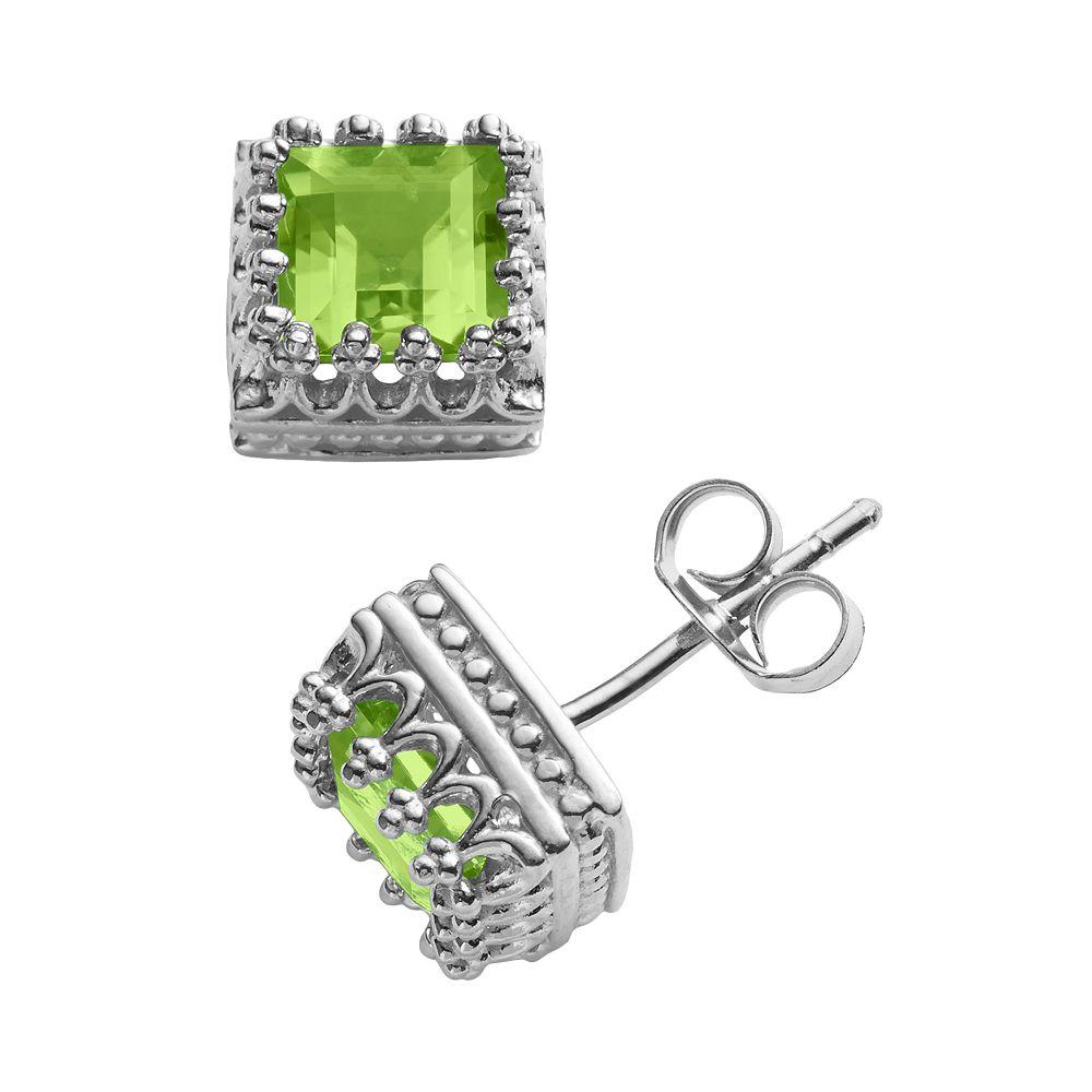 Sterling Silver Genuine Peridot Crown Stud Earrings