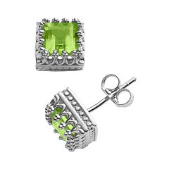 Sterling Silver Genuine Peridot Crown Stud Earrings