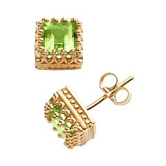 14k Gold Over Silver Peridot Crown Stud Earrings