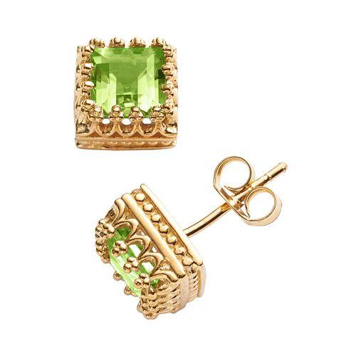 14k Gold Over Silver Peridot Crown Stud Earrings