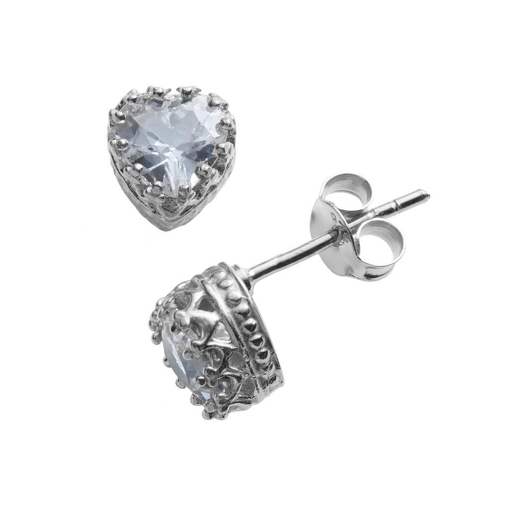 Sterling Silver Lab-Created Aquamarine Heart Crown Stud Earrings