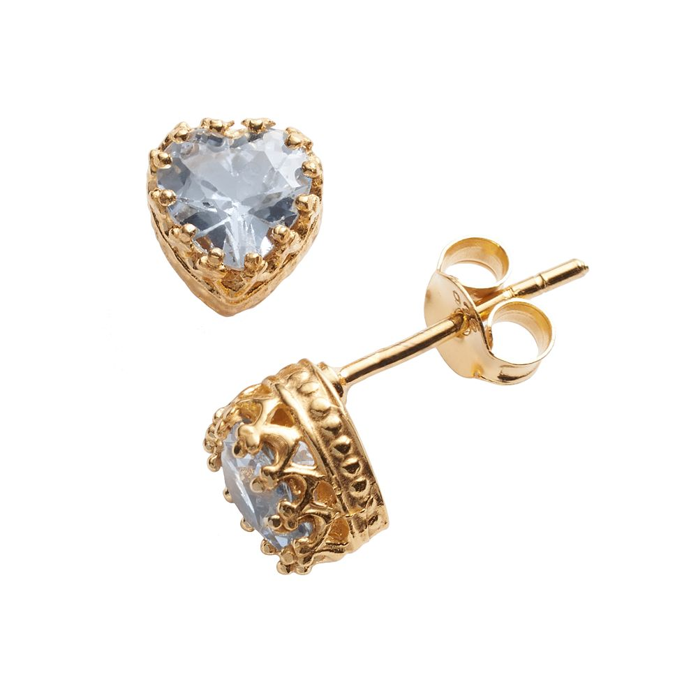 14k Gold Over Silver Lab-Created Aquamarine Heart Crown Stud Earrings