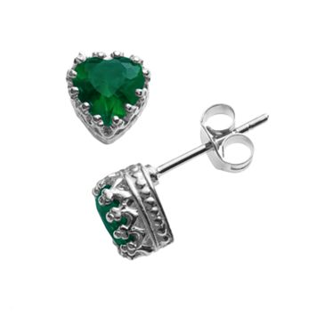 Sterling Silver Lab-Created Emerald Heart Crown Stud Earrings
