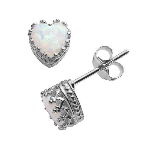 Sterling Silver Lab-Created Opal Heart Crown Stud Earrings