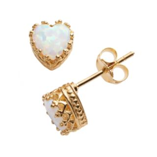 14k Gold Over Silver Lab-Created Opal Heart Crown Stud Earrings