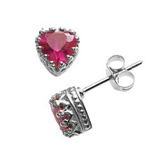 Sterling Silver Lab-Created Ruby Heart Crown Stud Earrings