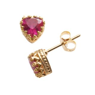 14k Gold Over Silver Lab-Created Ruby Heart Crown Stud Earrings