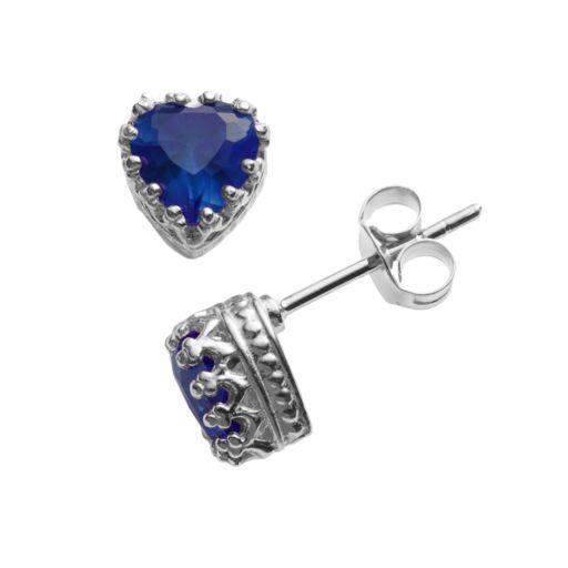 Sterling Silver Lab-Created Sapphire Heart Crown Stud Earrings