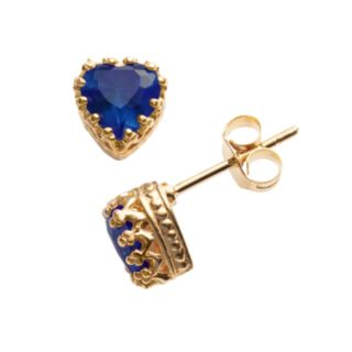 14k Gold Over Silver Lab-Created Sapphire Heart Crown Stud Earrings
