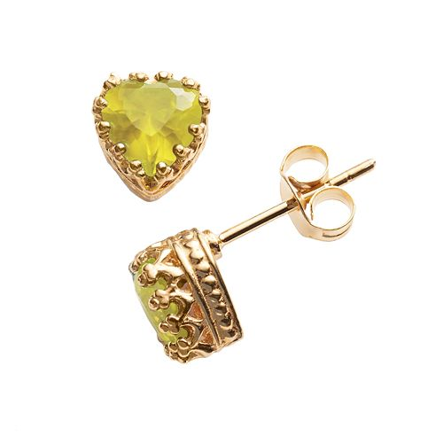 14k Gold Over Silver Citrine Heart Crown Stud Earrings