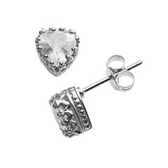 Sterling Silver Lab-Created White Sapphire Heart Crown Stud Earrings