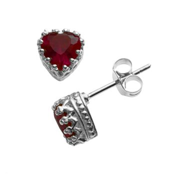 Sterling Silver Garnet Heart Crown Stud Earrings