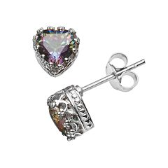 Sterling Silver Rainbow Quartz Heart Crown Stud Earrings