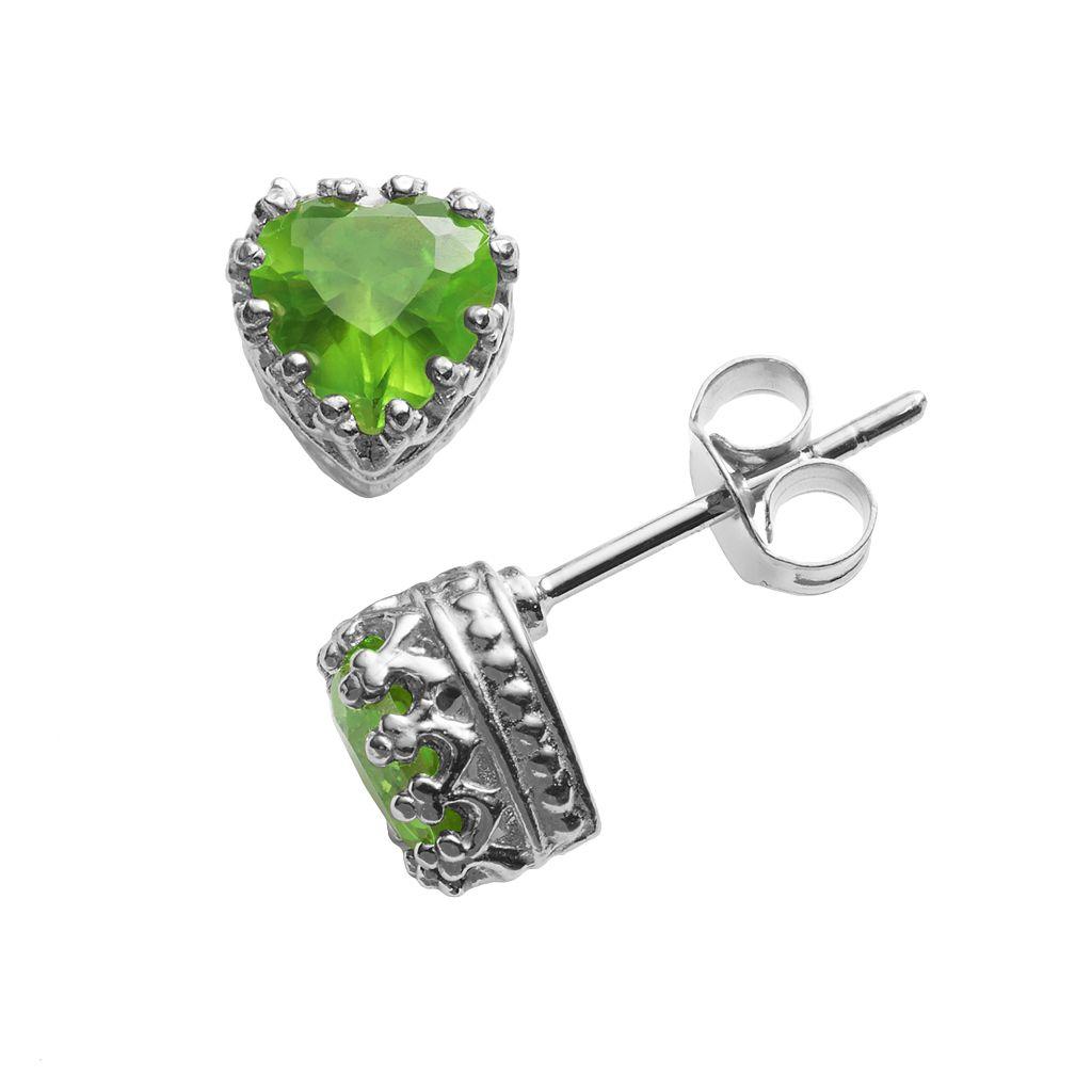Sterling Silver Peridot Heart Crown Stud Earrings
