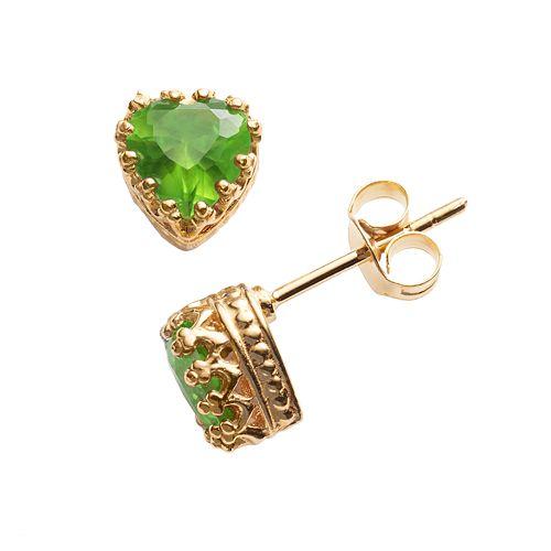 14k Gold Over Silver Peridot Heart Crown Stud Earrings