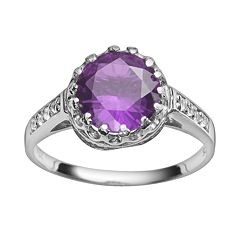 Sterling Silver Amethyst & Lab-Created White Sapphire Crown Ring