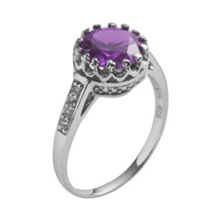 Sterling Silver Amethyst and Lab-Created White Sapphire Crown Ring