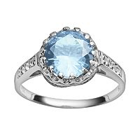 Sterling Silver Lab-Created Aquamarine & Lab-Created White Sapphire Crown Ring